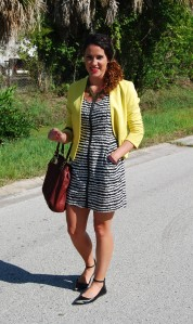 Striped Dress+ Yellow Jacket | three wishes style
