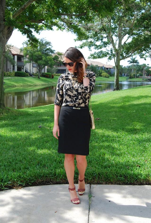 Black Skirt + Gold Purse