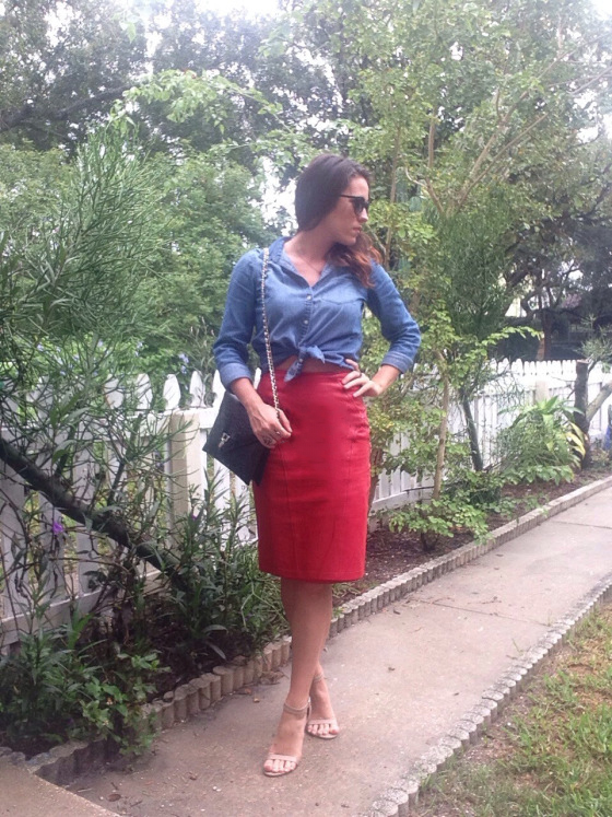 red leather skirt | three wishes style