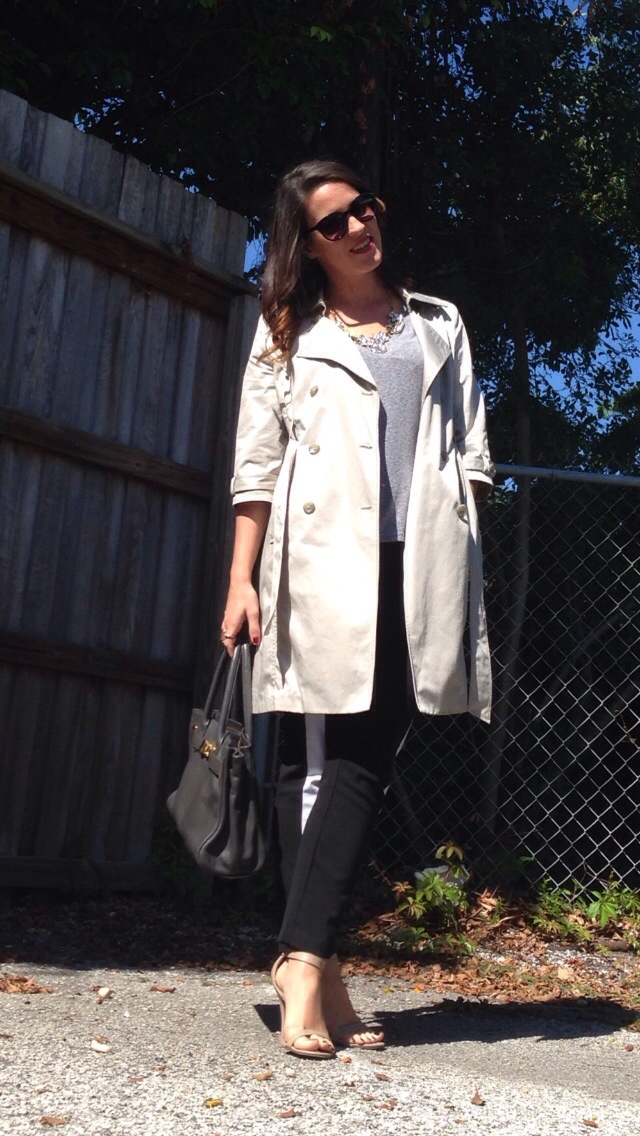 trench + tuxedo pants | three wishes style