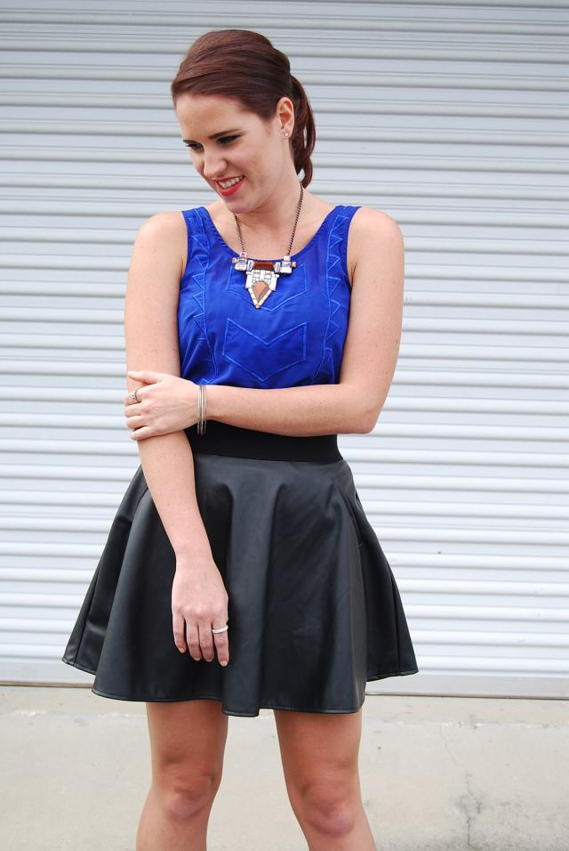 blue shirt + leather skirt | three wishes style