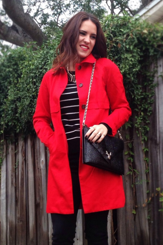 red trench | three wishes style