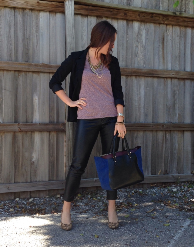 leather + tee   three wishes style