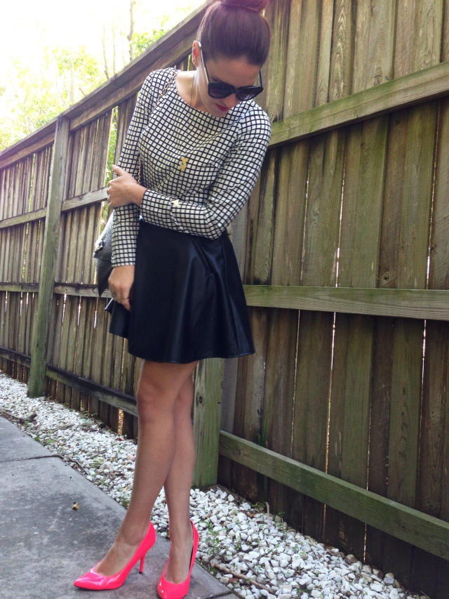 leather skirt + pink heels | three wishes style