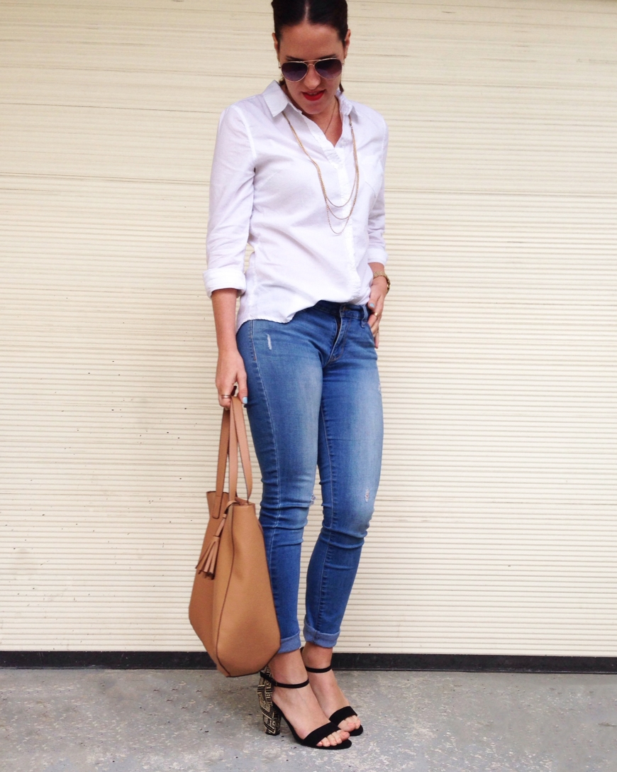 button down + jeans | three wishes style