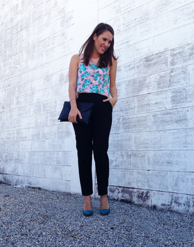 floral top + black pants | three wishes style