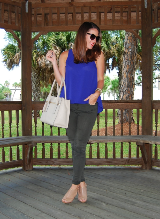 blue top with green pants | three wishes style