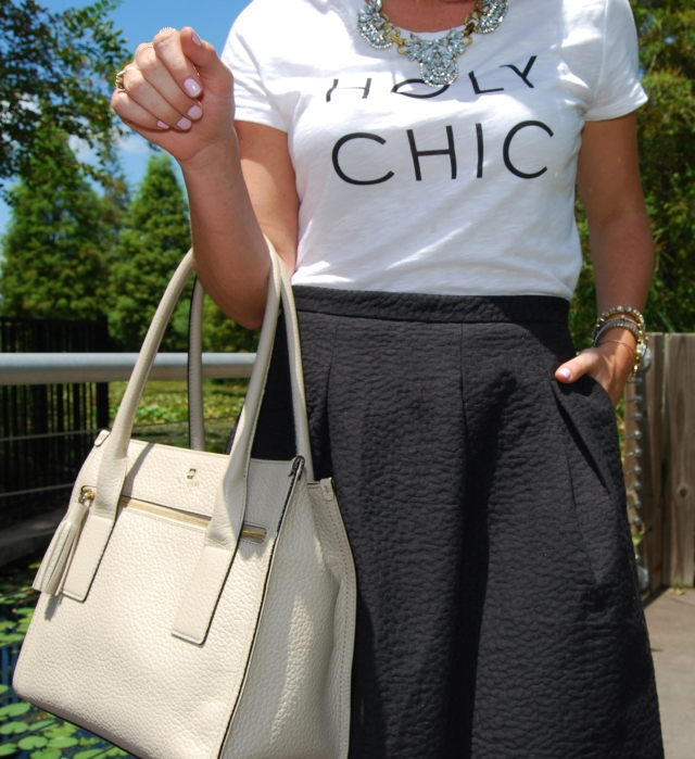holy chic shirt + black midi skirt, kate spade purse  | three wishes style