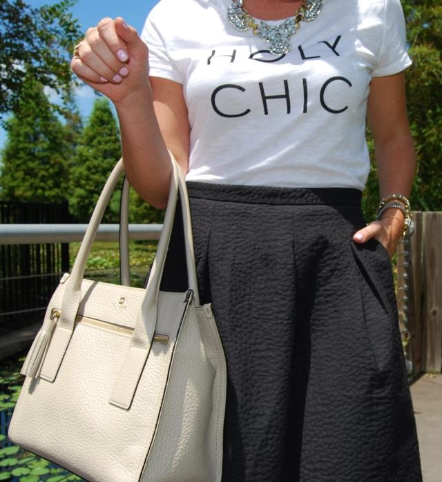 holy chic shirt + black midi skirt, kate spade purse    three wishes style