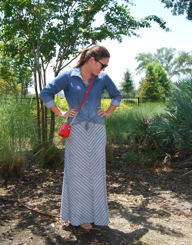 maxi skirt chambray | three wishes style