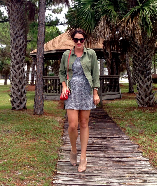 dress n green jacket | three wishes style