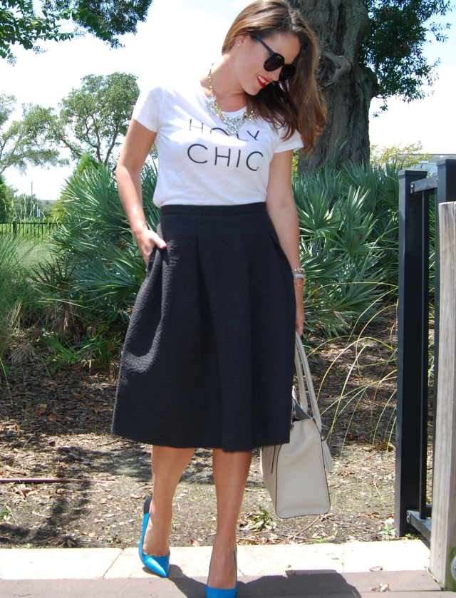 holy chic shirt + black midi skirt  | three wishes style