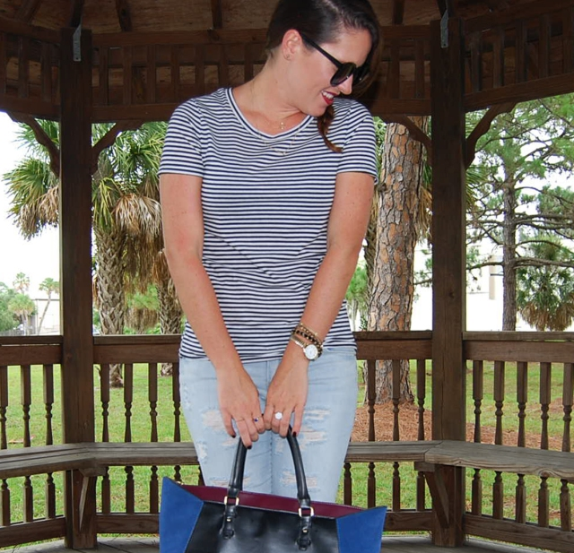 4ripped jeans and stripes | three wishes style