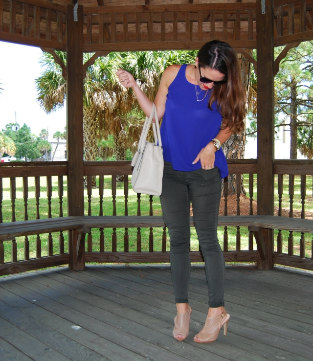 5blue top with green pants | three wishes style
