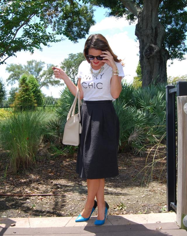 holy chic shirt + black midi skirt    three wishes style