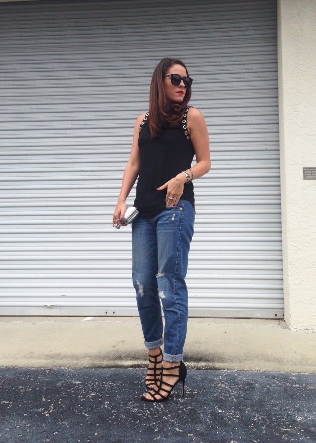 boyfriend jeans + heels | three wishes style