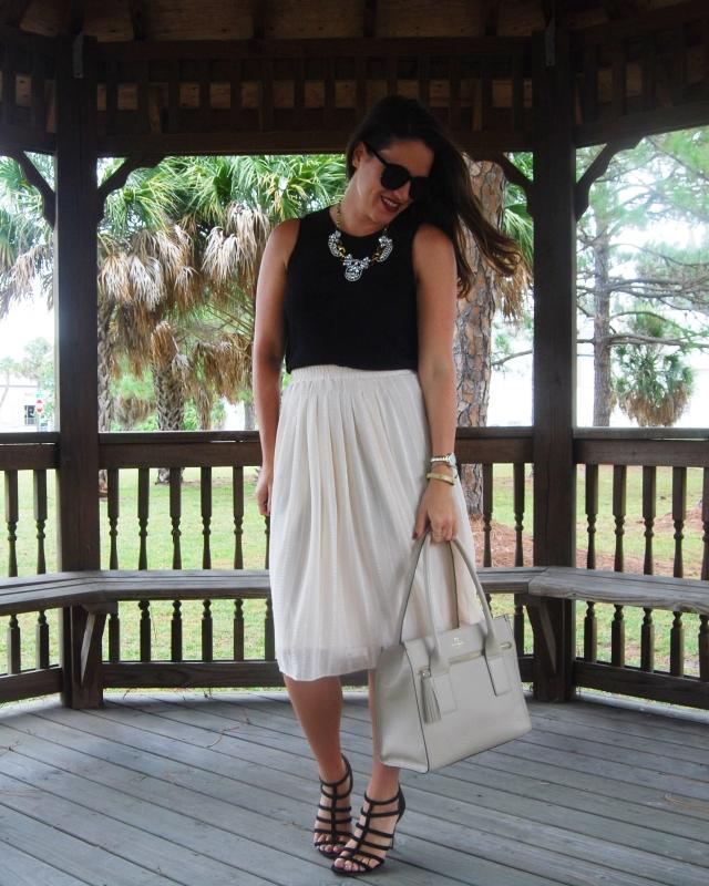 1cream midi skirt | three wishes style