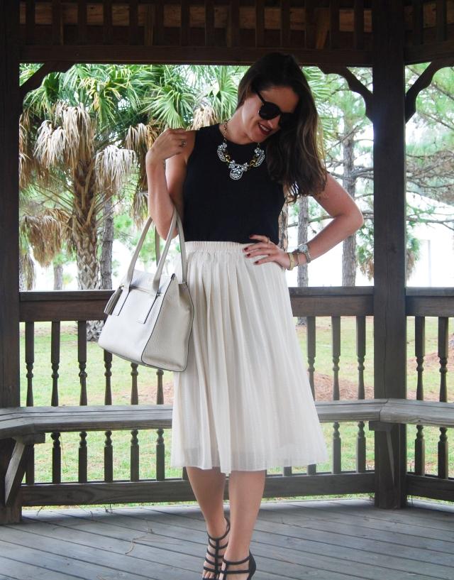 cream midi skirt | three wishes style