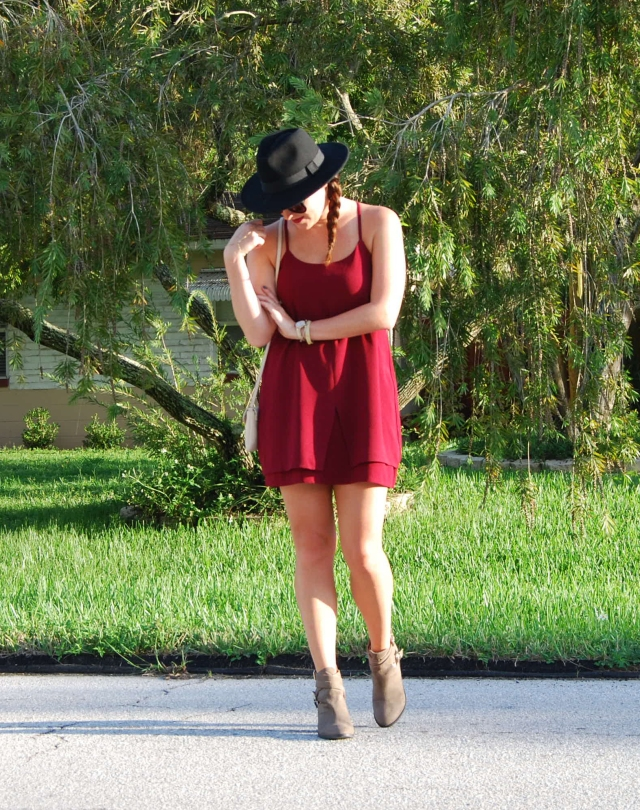 maroon dress N boots | three wishes style