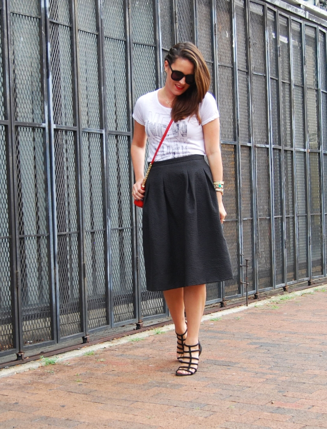 NY tee + midi skirt | three wishes style