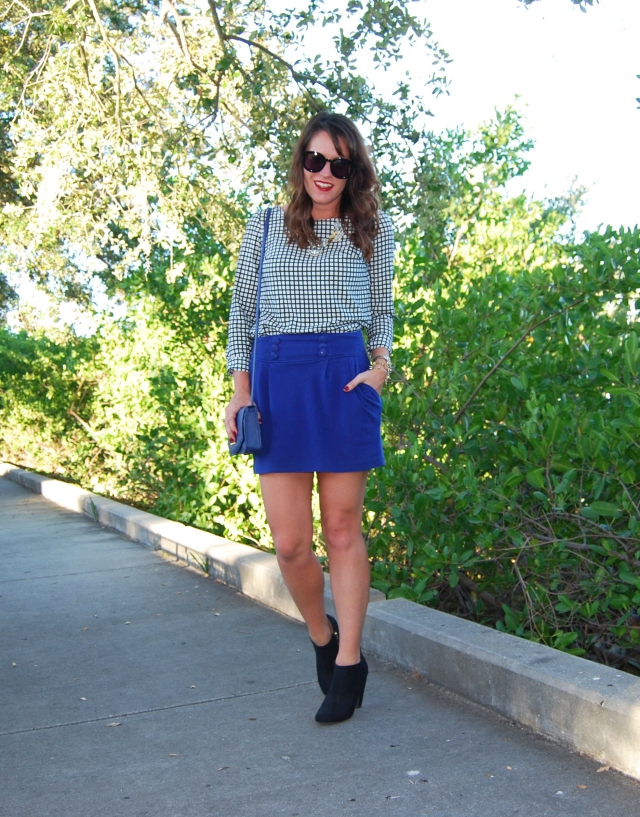 blue skirt + black boots