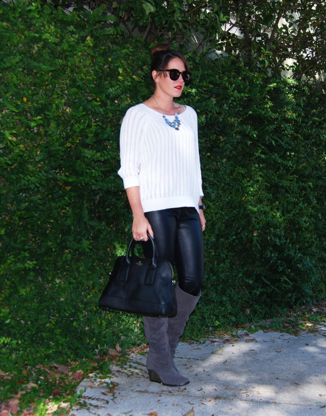 black leather + white sweater | three wishes style