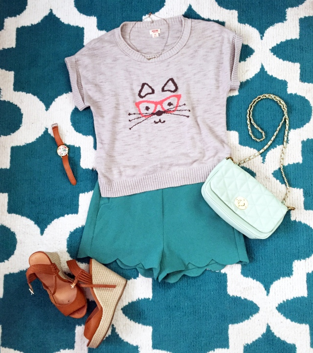 Scalloped teal shorts