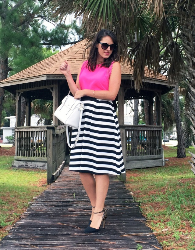 8 pink black and white stripes | three wishes style
