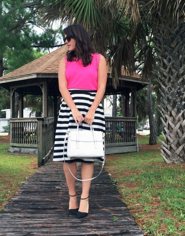 9 pink black and white stripes | three wishes style